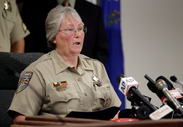 Nye County Sheriff Sharon Wehrly talks to the media about former NBA basketball player Lamar Odom during a new conference Wednesday, Oct. 14, 2015 in Pahrump, Nev.  Odom, who was was found unresponsive after four days at the brothel on Tuesday, was on life support Wednesday, his estranged wife Khloe Kardashian by his side.  (AP Photo/Chris Carlson)