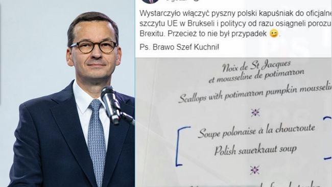 """Mateusz Morawiecki: """"Polski kapuśniak w menu szczytu UE i od razu porozumienie ws. brexitu"""""""