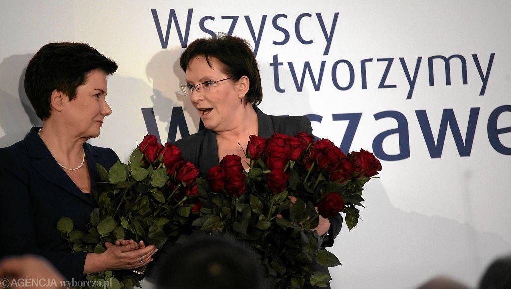 Wieczór Wyborczy Platformy Obywatelskiej. Kandydatka na prezydenta Warszawy obecna prezydent Hanna Gronkiewicz Waltz i premier Ewa Kopacz