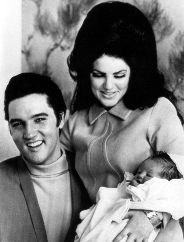 Elvis Presley,. Priscilla Presley, Lisa Marie Presley