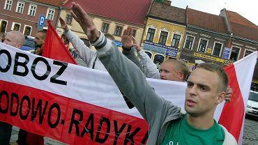 Myślenice, 2005. Rocznica pogromu  zorganizowanego przez Adama Doboszyńskiego  w 1936 r. na miejscowej ludności żydowskiej.  Organizatorem był Obóz Narodowo-Radykalny