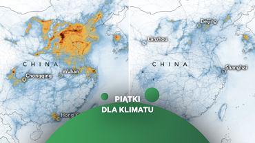 Stężenie dwutlenku azotu w Chinach przed i po wprowadzeniu ograniczeń związanych z koronawirusem