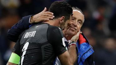 Gianluigi Buffon i trener Włochów Gian Piero Ventura