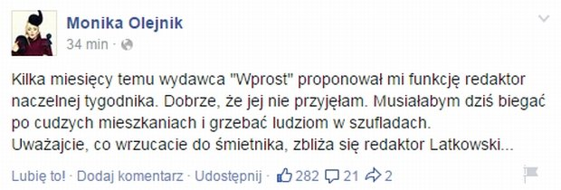 Monika Olejnik na Facebooku