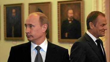 Donald Tusk i Władimir Putin w Smoleńsku, 7 kwietnia 2010