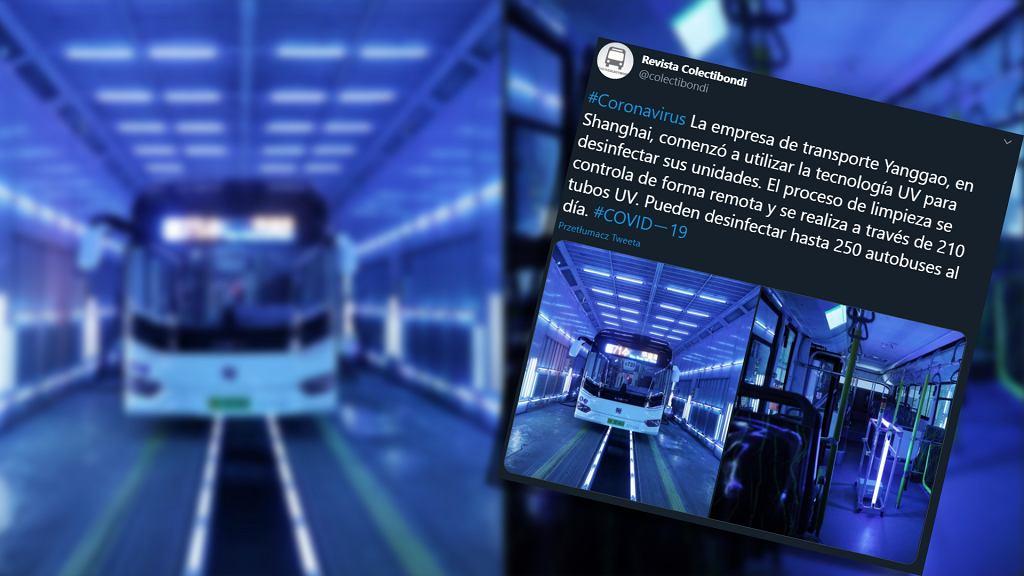 Dezynfekcja autobusów promieniami UV