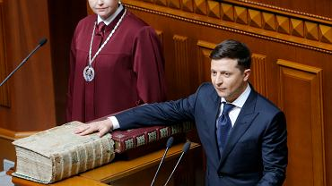 Wołodymyr Zełeński podczas zaprzysiężenia na prezydenta Ukrainy, 20 maja 2019.