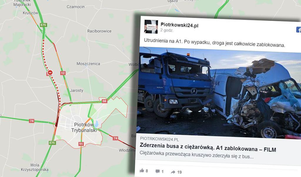 Wypadek na A1 obok Piotrkowa Trybunalskiego
