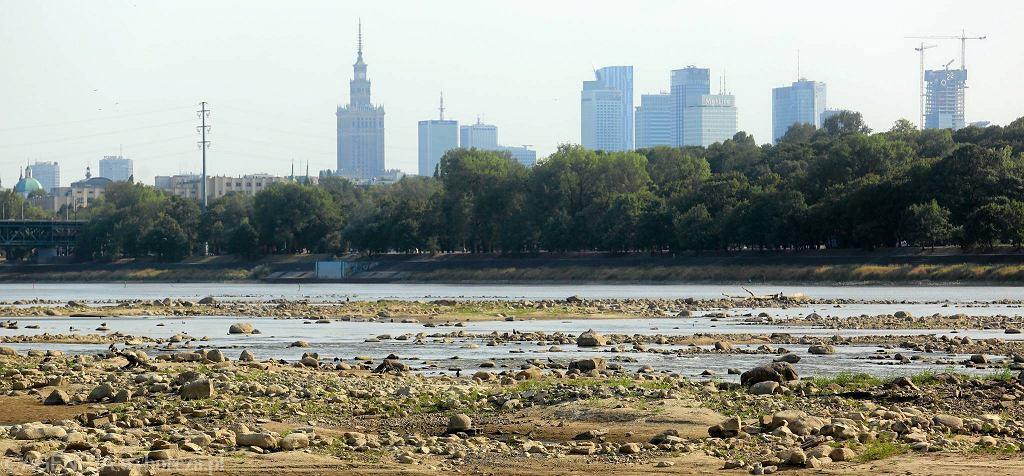 Widok na Warszawę i wysychającą Wisłę od strony Żerania. Rekordowo niski poziom wody odsłania coraz większe obszary koryta rzeki