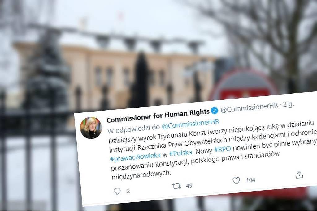 Komisarz praw człowieka Rady Europy reaguje na wyrok TK ws. RPO