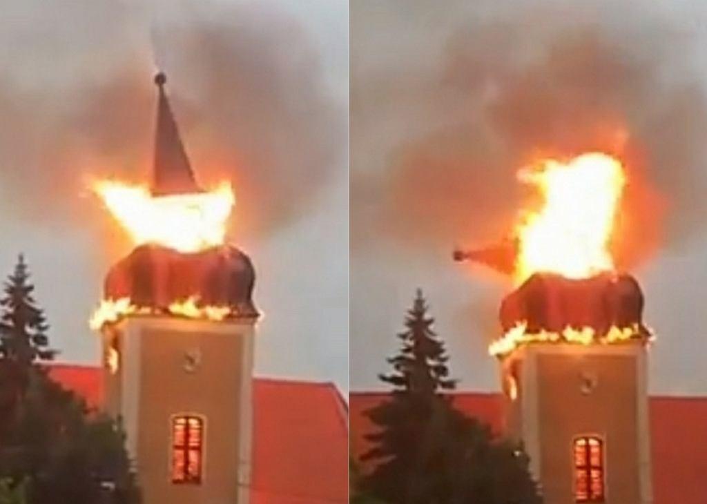 Pożar kościoła we Frednowach niedaleko Iławy