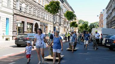 Wędrujące Drzewa na ul. Rayskiego 30 czerwca 2019 r. Akcja Szczecińskiego Ruchu Miejskiego