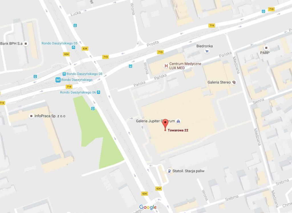 Towarowa 22, Warszawa - mapa