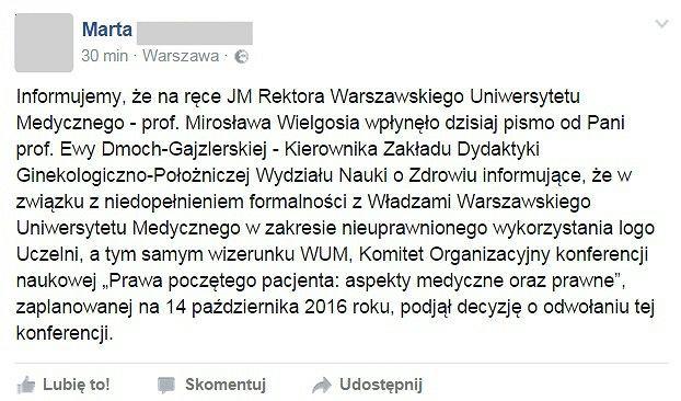 Wpis na grupie 'STOP dla konferencji Ordo Iuris na WUM-ie!'