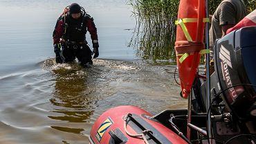 11.06.2019 Olsztyn . Poszukiwania ciala Joanny Gibner w jeziorze w Dywitach kolo Olsztyna .