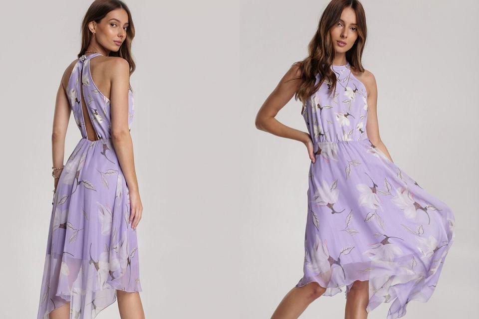 Liliowa sukienka w kwiatki