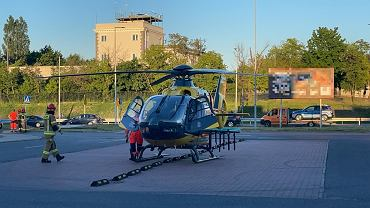 16.06.2021. Wypadek w Legionowie. Ranną 12-latkę zabrał do szpitala śmigłowiec LPR