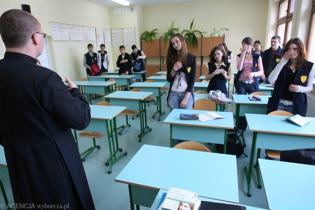 Lekcja religii w gimnazjum