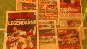 Okładki gazet po meczu Polska - Niemcy