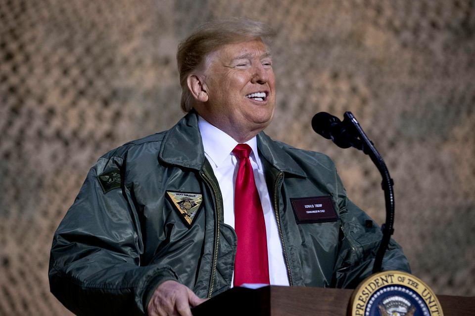 26.12.2018, Donald Trump z wizytą w amerykańskiej bazie wojskowej Al-Asad w Iraku.