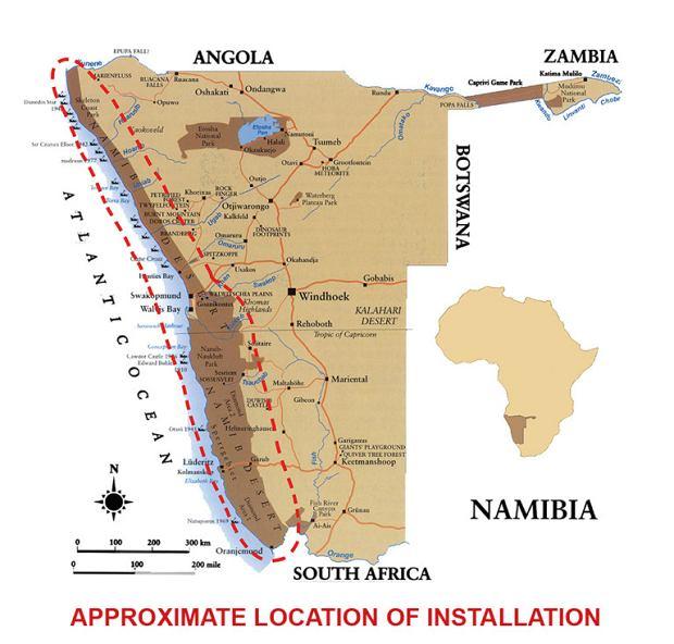 Mapa wskazująca położenie instalacji 'Toto Forever'