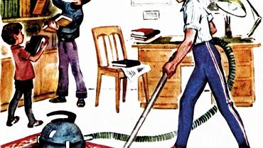 """W latach 80-tych w domu sprzątali już mężczyźni, przynajmniej w radzieckim elementarzu. Jest to jednak wyjątek, bo generalnie tata siedział w garniturze i krawacie i czytał gazetę. (""""Azbuka"""", Moskwa 1986-1988)"""