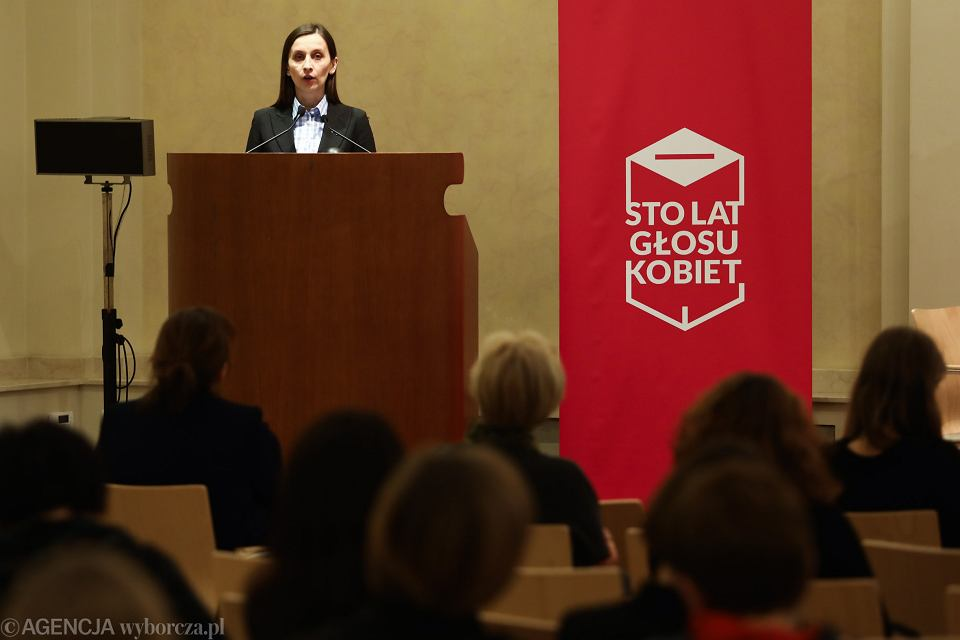 Zastępczyni rzecznika praw obywatelskich Sylwia Spurek podczas konferencji 'Kobiety rządzą x 100'. Kraków, 23 listopada 2018 r.