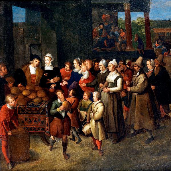 Siedem dzieł miłosierdzia, fragment obrazu flamandzkiego artysty Fransa Franckena Młodszego, XVII w.