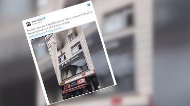 Stambuł. Matka wyrzucała dzieci przez okno, aby uratować je przed pożarem [WIDEO]
