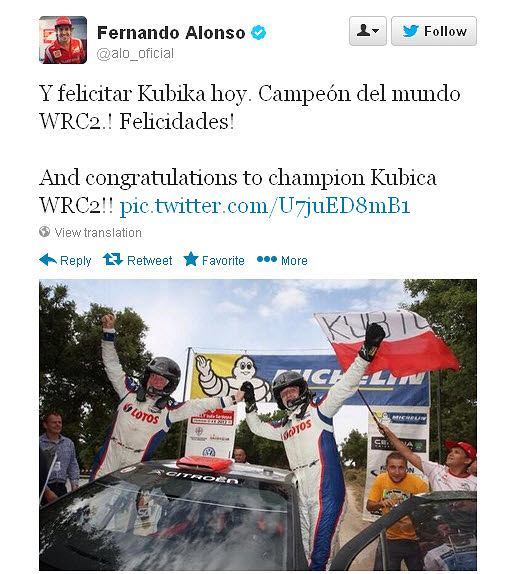 Fernando Alonso gratuluje Robertowi Kubicy