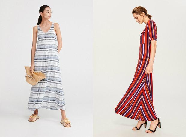 Długie sukienki w paski sprawdzą się idealnie na wakacje nad morzem