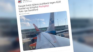 Kolizja na płycie lotniska Amsterdam-Schiphol. Samolot EasyJet uderzył w samolot KLM