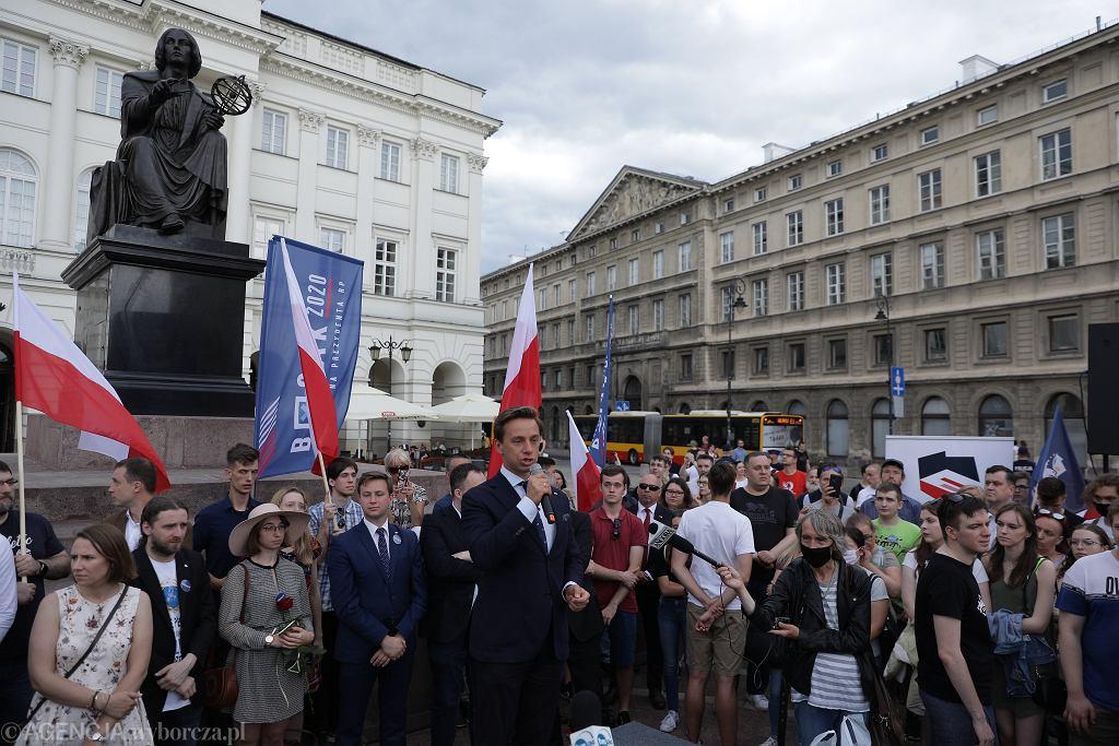 Wiec wyborczy Krzysztofa Bosaka w Warszawie
