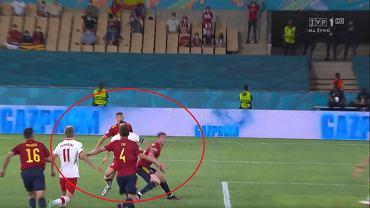 Robert Lewandowski i Aymeric Laporte w meczu Hiszpania - Polska