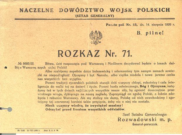 Rozkaz wydany przez Rozwadowskiego na początku bitwy warszawskiej