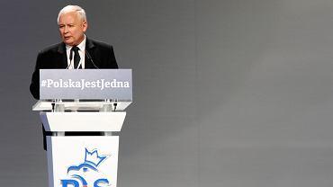 Jarosław Kaczyński przemawia na kongresie PiS oraz Zjednoczonej Prawicy