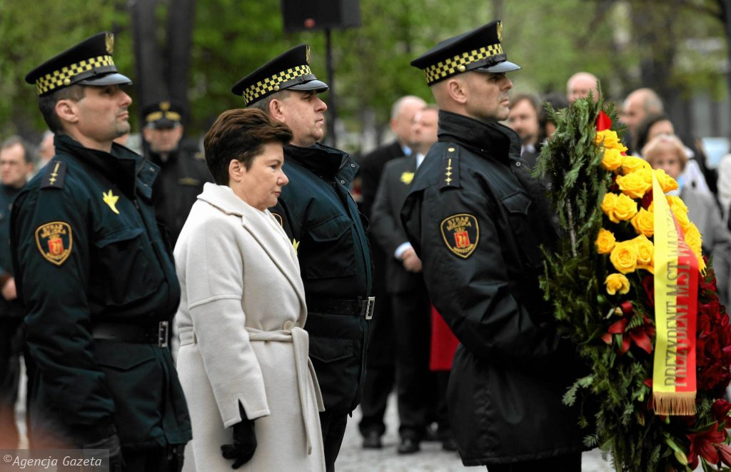 Hanna Gronkiewicz-Waltz podczas uroczystości rocznicy wybuchu powstanie w getcie warszawskim