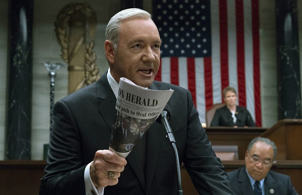 Kevin Spacey jako Frank Underwood w 'House of Cards'
