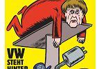 """""""Charlie Hebdo"""" po niemiecku. Na pierwszej okładce Angela Merkel u mechanika"""