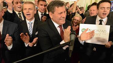 Janusz Piechociński podczas wieczoru wyborczego PSL