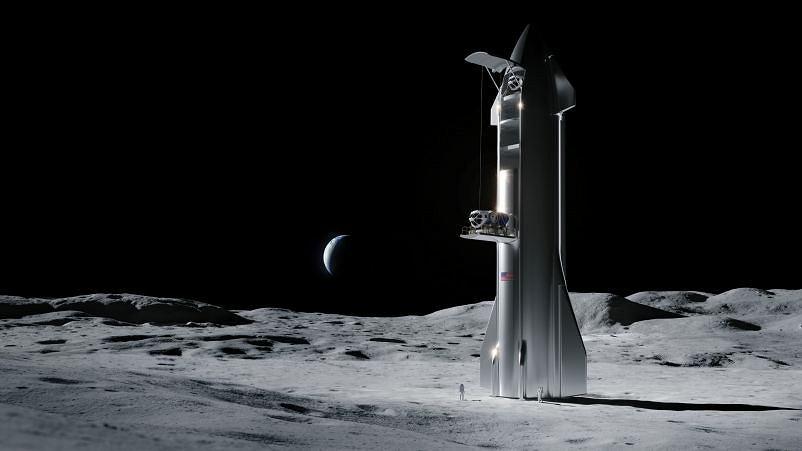 Wizualizacja lądowania na Księżycu statku Starship