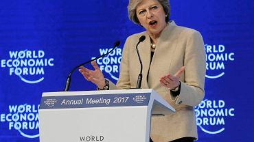 Brytyjska premier Theresa May na Światowym Forum Ekonomicznym w Davos.
