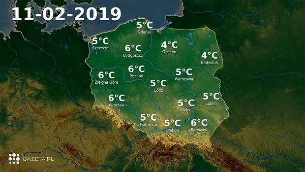 Mapa temperatury 11.02.2019