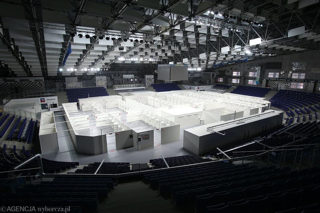 Szczecin. Hala widowiskowo - sportowa Netto Arena. Na czas epidemii koronawirusa w hali powstanie szpital tymczasowy