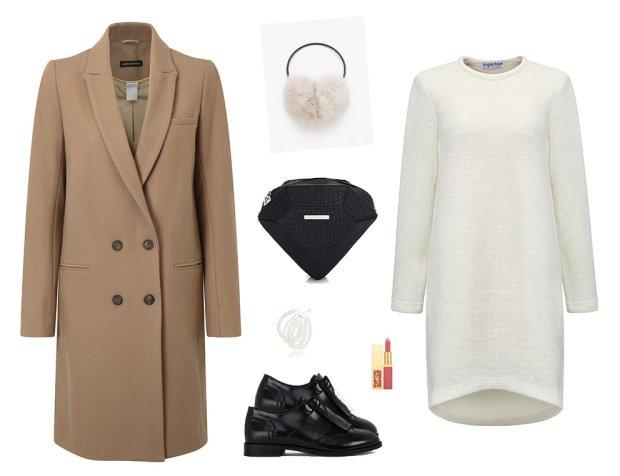 Płaszcz i buty La Redoute, sukienka Sugarfree, pomadka YSL, torebka Sabrina Pilewicz, nauszniki Zara, bransoletki H&M