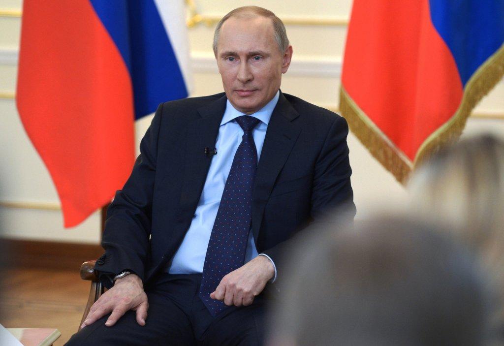 Władimir Putin podczas konferencji prasowej dotyczącej sytuacji na Ukrainie