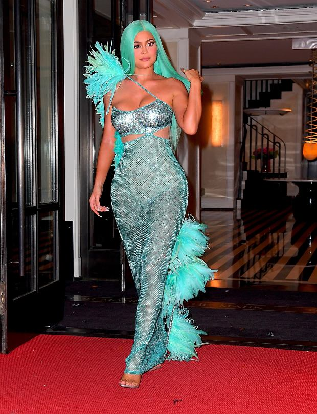 Kylie Jenner Channels Her Inner Mermaid with Aqua Hair and Dress for Met Gala After Party    Pictured: Kylie Jenner      World Rights, No Portugal Rights