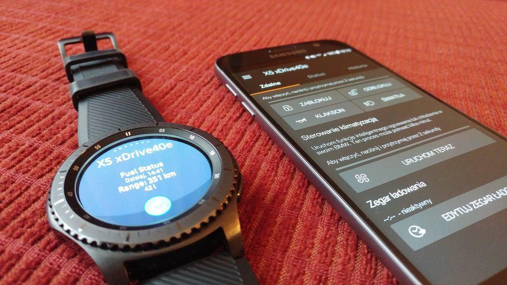 Aplikacje BMW Connected w smartfonie i smartwatchu Samsunga