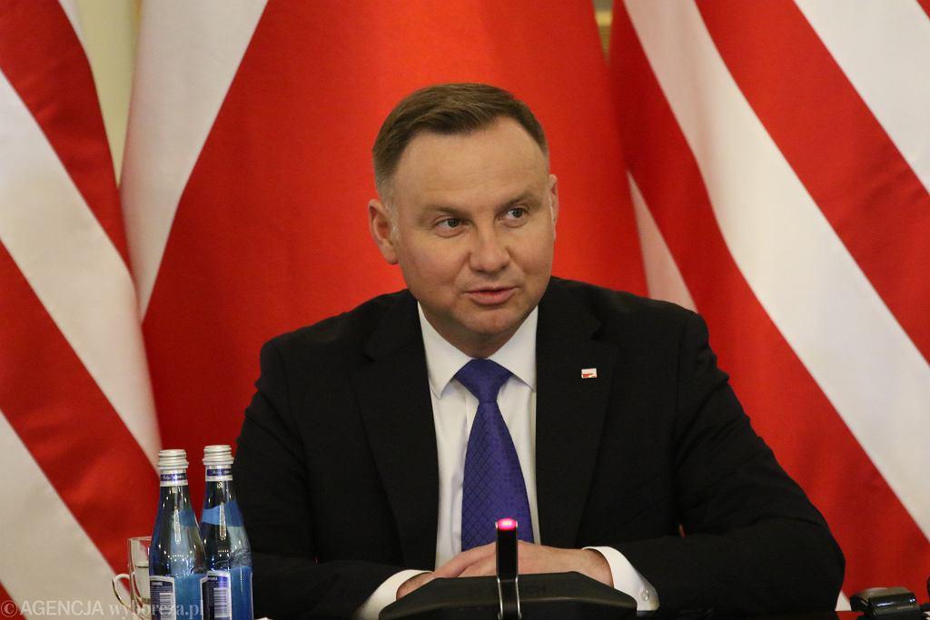+Prezydent RP Andrzej Duda po powrocie z USA