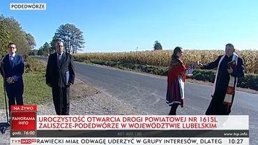 Premier Mateusz Morawiecki wziął udział w uroczystości otwarcia drogi powiatowej nr 1615L Zaliszcze-Podedwórze na Lubelszczyźnie.